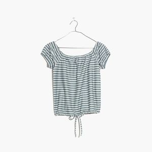 Madewell Blue & White Striped Off The Shoulder Top